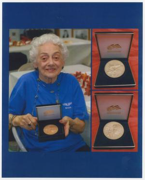 Primary view of object titled '[Helen Snapp Posing With Her Congressional Gold Medal]'.