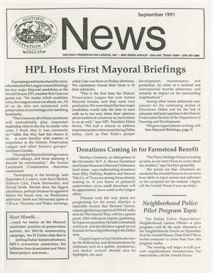 Primary view of object titled 'Historic Preservation League News, September 1991'.