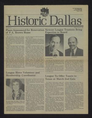 Primary view of object titled 'Historic Dallas, Volume 9, Number 1, January-February 1986'.