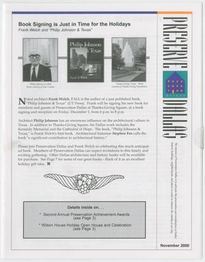 Preserve Dallas, November 2000
