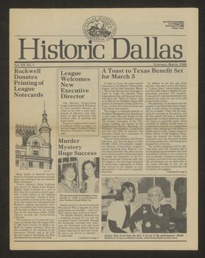 Primary view of object titled 'Historic Dallas, Volume 12, Number 1, February-March 1988'.