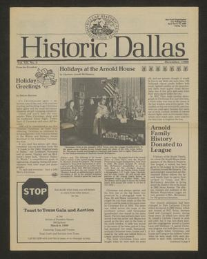 Primary view of Historic Dallas, Volume 12, Number 5, December 1988
