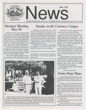 Primary view of object titled 'Historic Preservation League News, May 1992'.