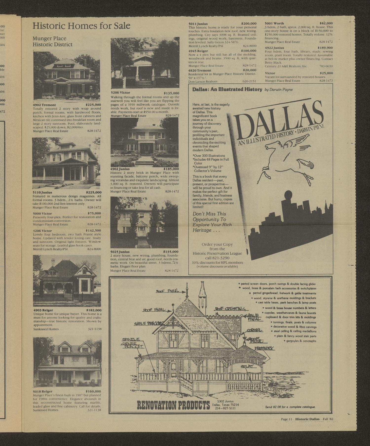 Historic Dallas, Volume 3, Number 4, Fall 1982                                                                                                      [Sequence #]: 11 of 12