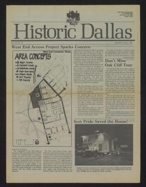 Primary view of object titled 'Historic Dallas, Volume 7, Number 16, September-October 1985'.