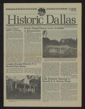 Primary view of object titled 'Historic Dallas, Volume 7, Number 17, November-December 1985'.