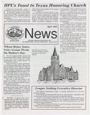 Primary view of object titled 'Historic Preservation League News, April 1993'.