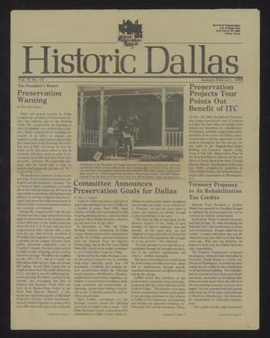 Primary view of object titled 'Historic Dallas, Volume 6, Number 13, January-February 1985'.
