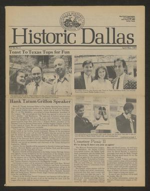 Primary view of object titled 'Historic Dallas, Volume 11, Number 2, April-May 1987'.