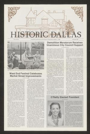 Primary view of object titled 'Historic Dallas, Volume 2, Number 2, Summer 1981'.