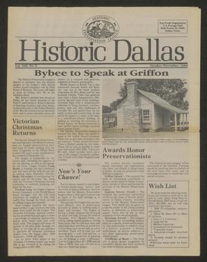 Primary view of object titled 'Historic Dallas, Volume 13, Number 5, October-November 1989'.