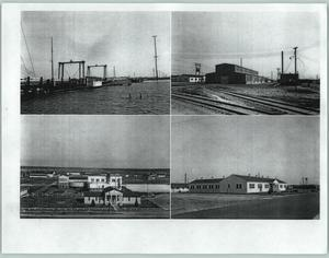 Primary view of object titled '[Marina, railroad, and several buildings]'.