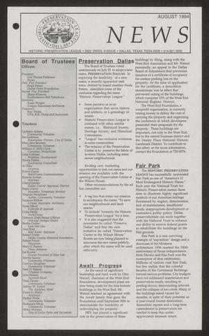 Primary view of object titled 'Historic Preservation League News, August 1994'.
