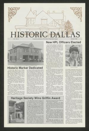 Primary view of object titled 'Historic Dallas, Volume 1, Number 2, Summer 1980'.