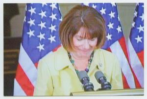 Primary view of object titled '[Susan Davis Speaking at a Podium]'.