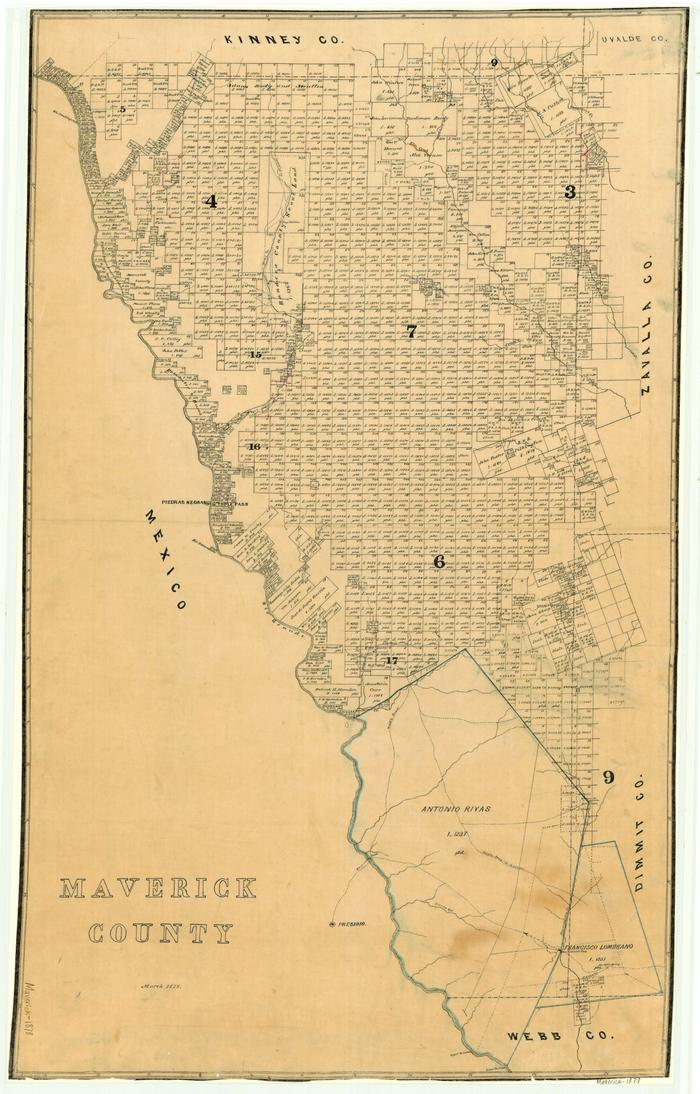 First side of: Maverick County, a map available in the The Portal to Texas History