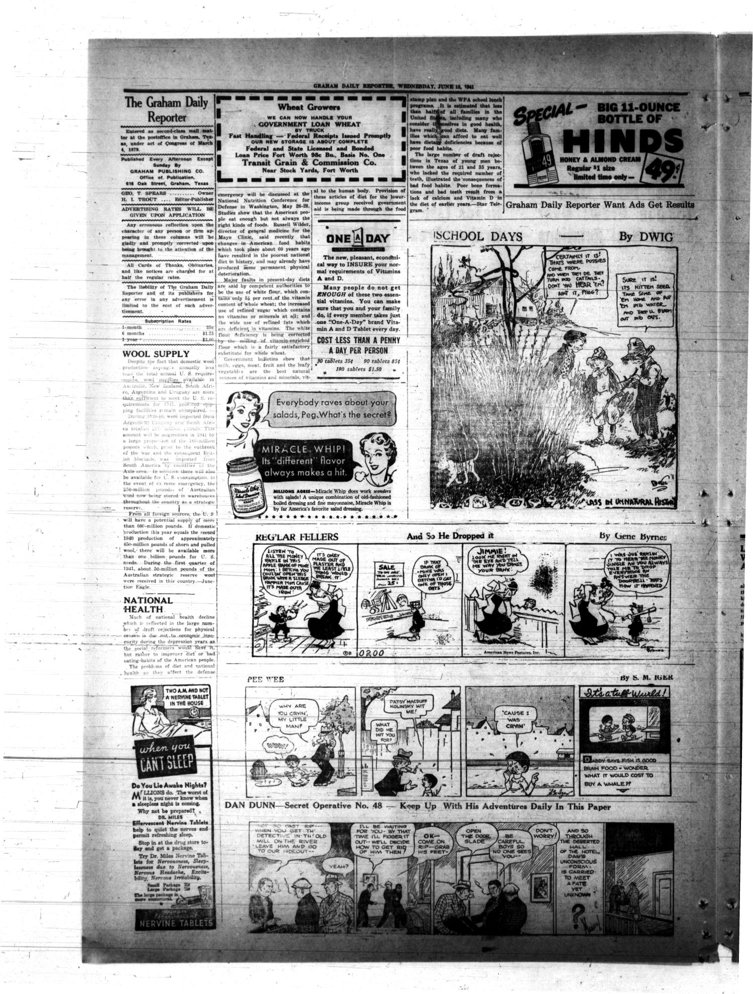 Graham Daily Reporter (Graham, Tex.), Vol. 7, No. 249, Ed. 1 Wednesday, June 18, 1941                                                                                                      [Sequence #]: 3 of 4