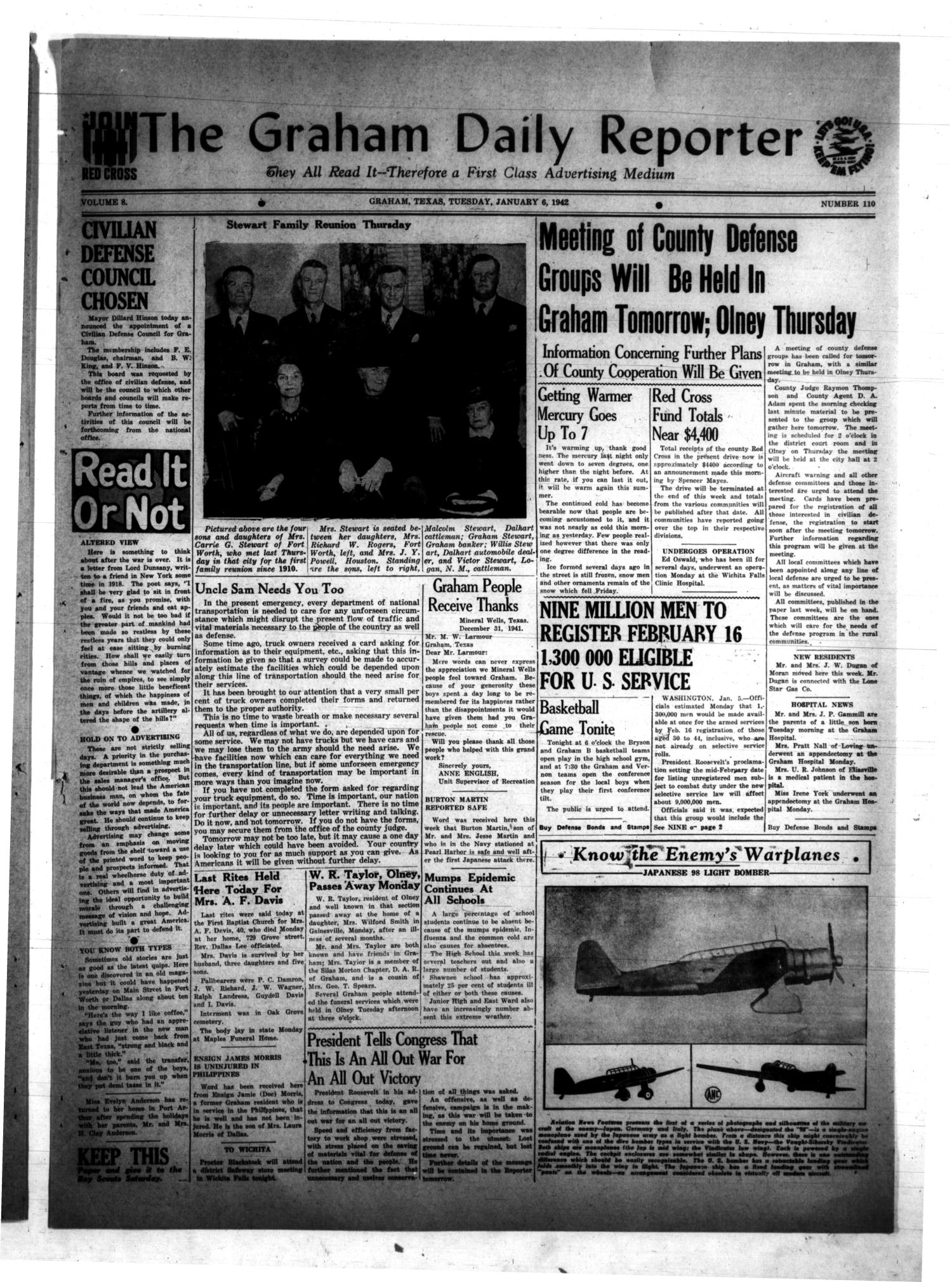 The Graham Daily Reporter (Graham, Tex.), Vol. 8, No. 110, Ed. 1 Tuesday, January 6, 1942                                                                                                      [Sequence #]: 1 of 4