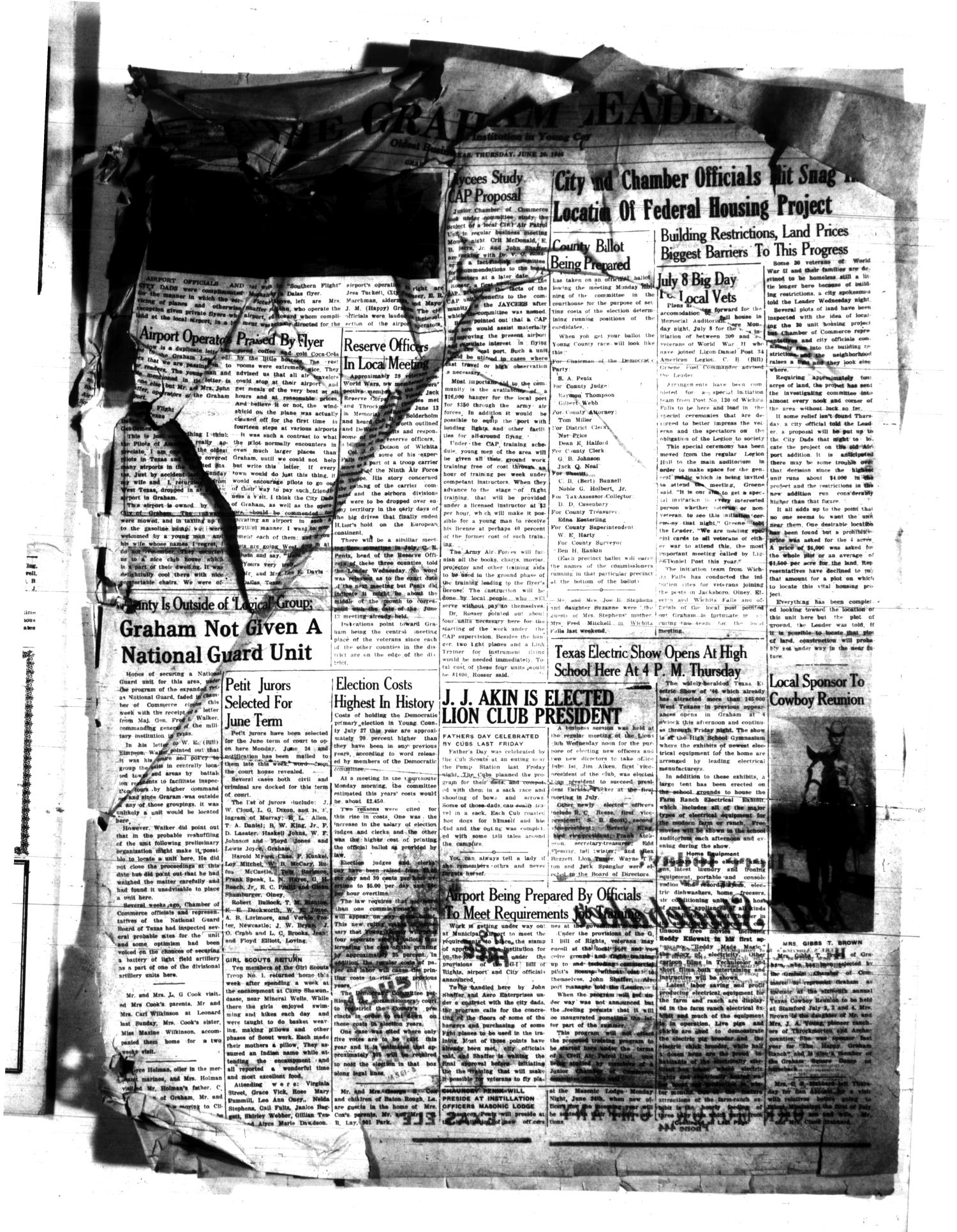 The Graham Leader (Graham, Tex.), Vol. [70], No. [46], Ed. 1 Thursday, June 20, 1946                                                                                                      [Sequence #]: 1 of 12