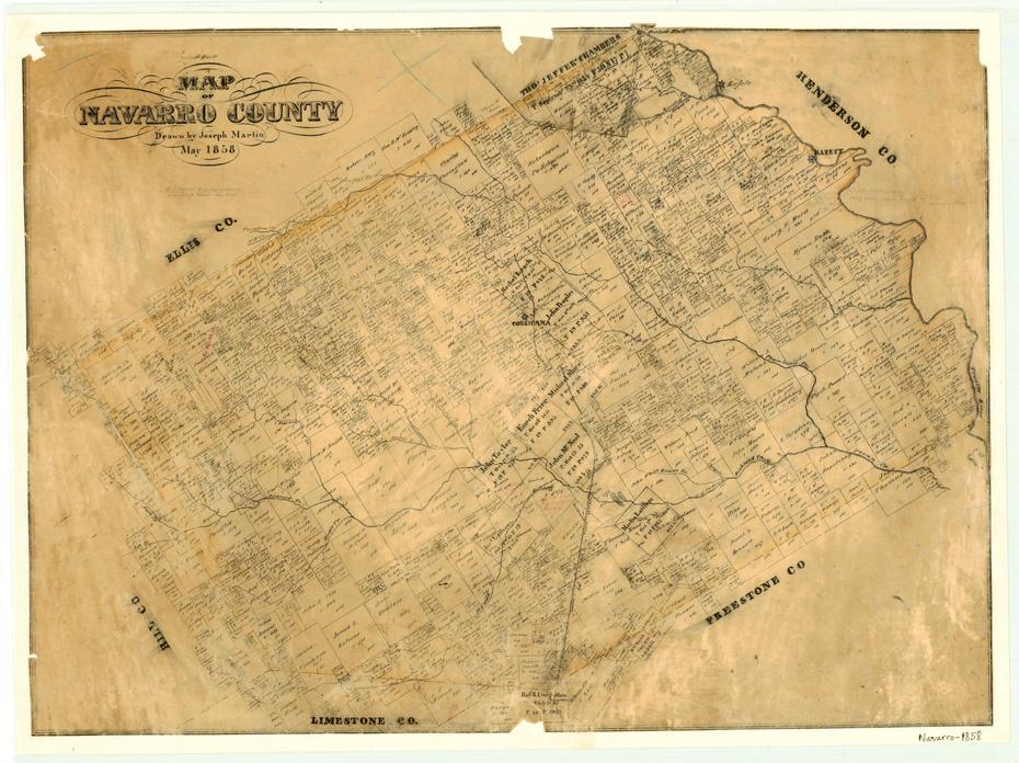 Map of Navarro County TX c1880 repro 26x20