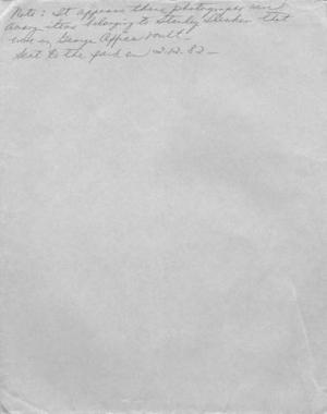 Primary view of object titled '[Manila envelope with a note written on it]'.