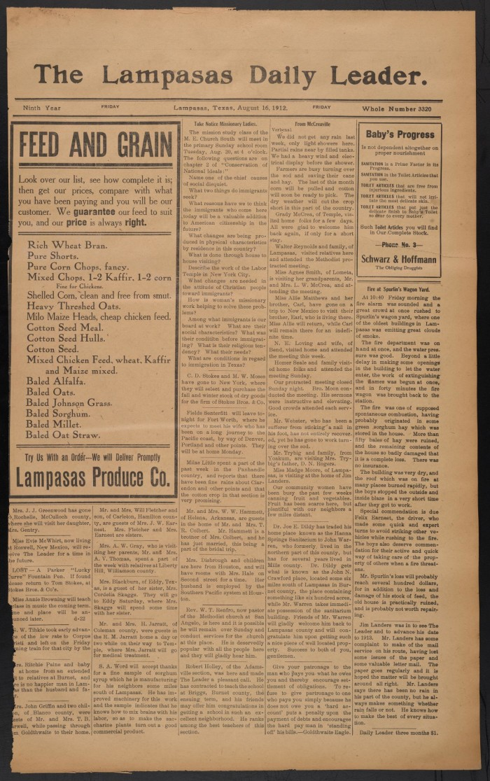 The Lampasas Daily Leader  (Lampasas, Tex ), Vol  9, No  3320, Ed  1