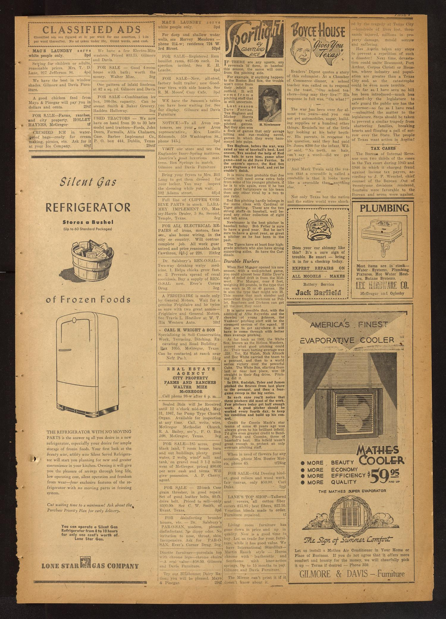 The McGregor Mirror and Herald-Observer (McGregor, Tex.), Vol. 59, No. 3, Ed. 1 Friday, May 30, 1947                                                                                                      [Sequence #]: 3 of 8