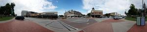 Primary view of object titled 'Panoramic image of the southwest corner of the square in Denton, Texas.'.