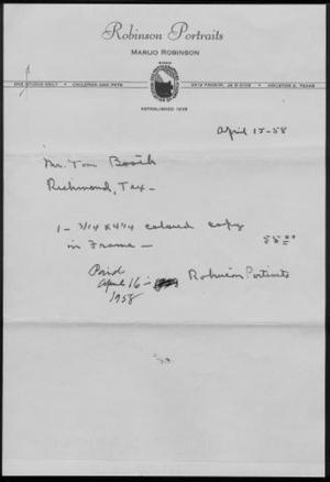 Primary view of object titled '[Letter from Robinson Portraits to Mr. Tom Booth]'.