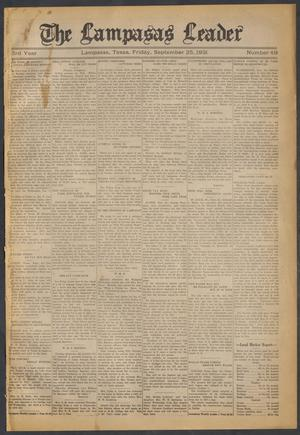 Primary view of object titled 'The Lampasas Leader (Lampasas, Tex.), Vol. [43], No. 49, Ed. 1 Friday, September 25, 1931'.