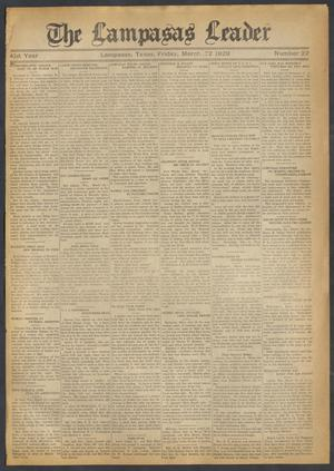 Primary view of object titled 'The Lampasas Leader (Lampasas, Tex.), Vol. 41, No. 22, Ed. 1 Friday, March 22, 1929'.