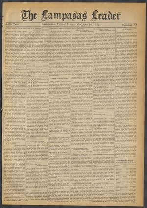 Primary view of object titled 'The Lampasas Leader (Lampasas, Tex.), Vol. 44, No. 52, Ed. 1 Friday, October 14, 1932'.