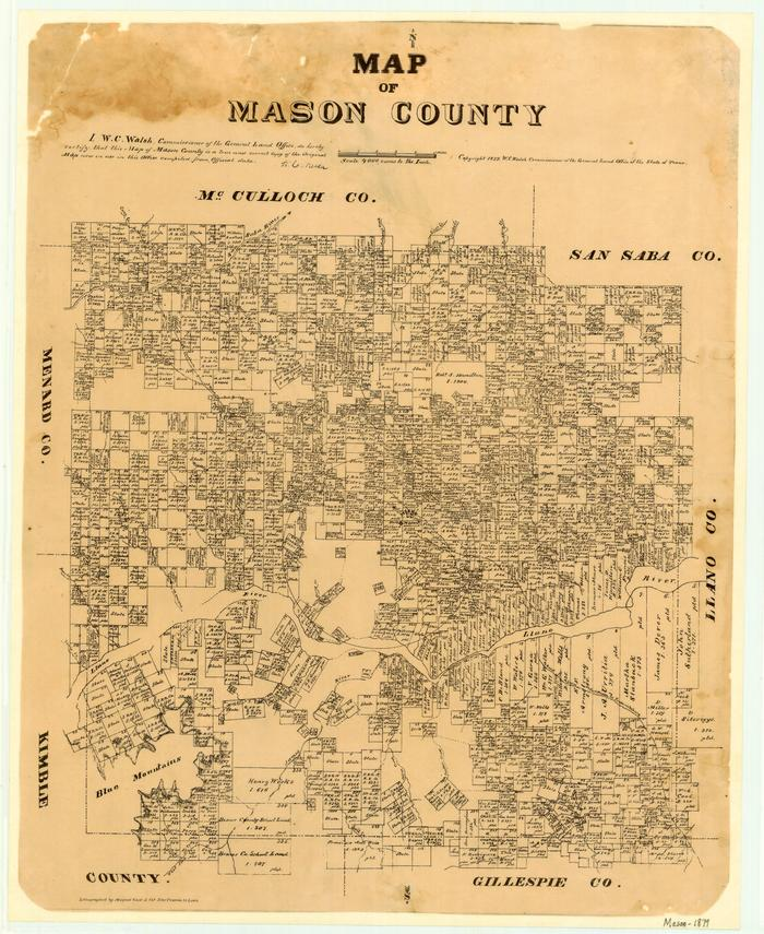 Mason County Texas Map Map of Mason County   The Portal to Texas History