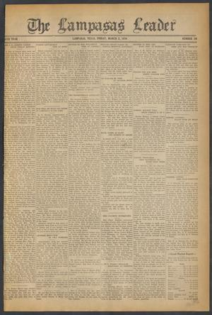 Primary view of object titled 'The Lampasas Leader (Lampasas, Tex.), Vol. [46], No. 20, Ed. 1 Friday, March 2, 1934'.
