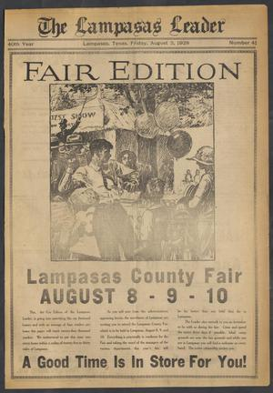 Primary view of object titled 'The Lampasas Leader (Lampasas, Tex.), Vol. 40, No. 41, Ed. 1 Friday, August 3, 1928'.