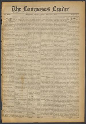 Primary view of object titled 'The Lampasas Leader (Lampasas, Tex.), Vol. [43], No. 21, Ed. 1 Friday, March 13, 1931'.