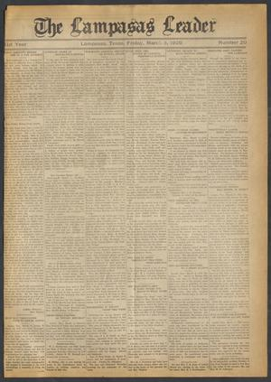 Primary view of object titled 'The Lampasas Leader (Lampasas, Tex.), Vol. 41, No. 20, Ed. 1 Friday, March 8, 1929'.