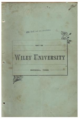 Primary view of object titled 'Yearbook of Wiley University, 1888'.