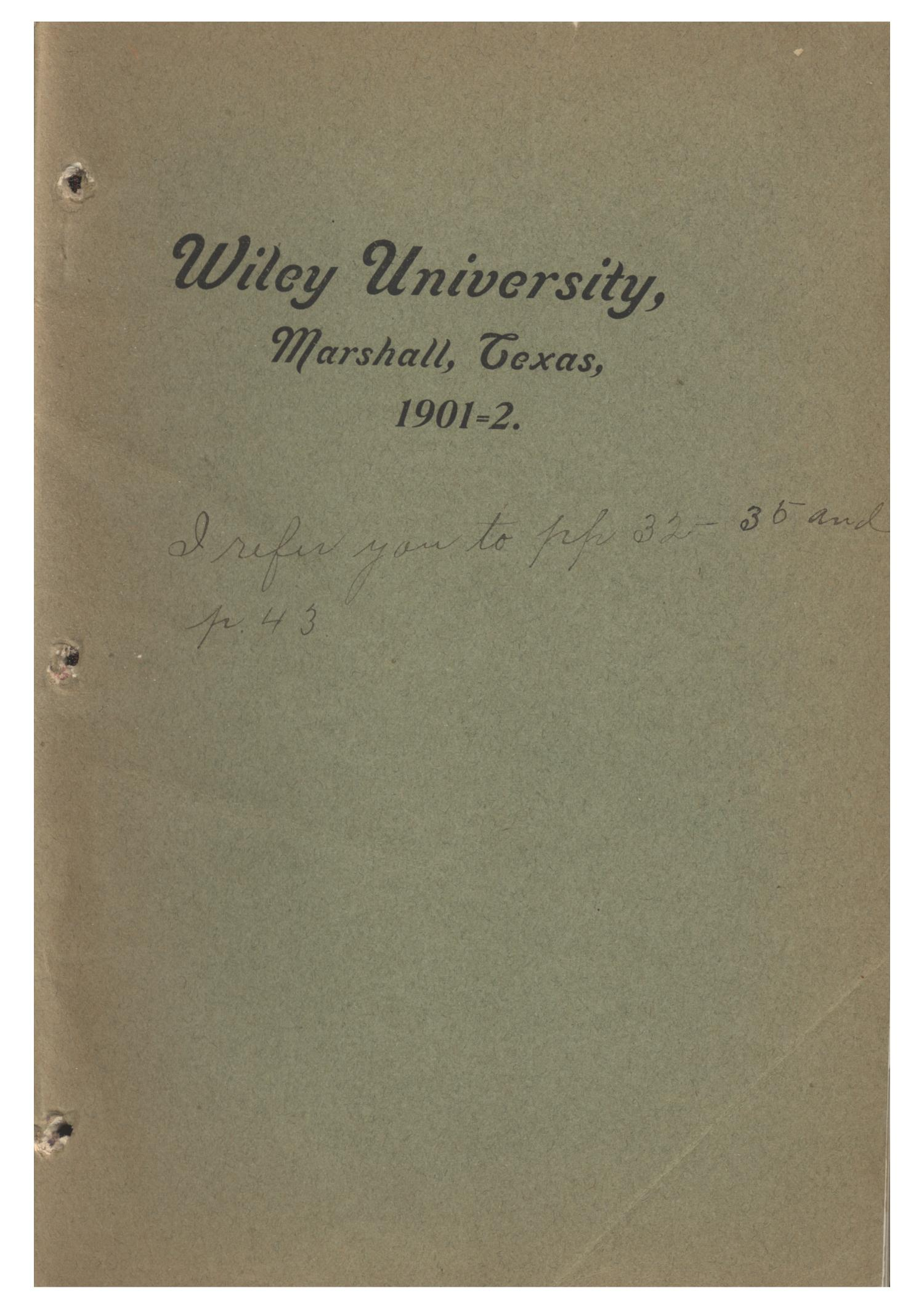 Yearbook of Wiley University, 1902                                                                                                      Front Cover