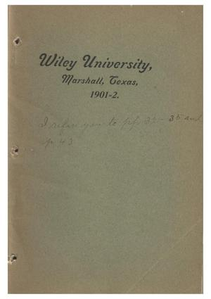 Primary view of object titled 'Yearbook of Wiley University, 1902'.