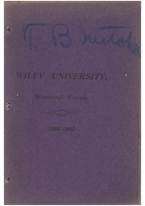 Primary view of object titled 'Yearbook of Wiley University, 1903'.