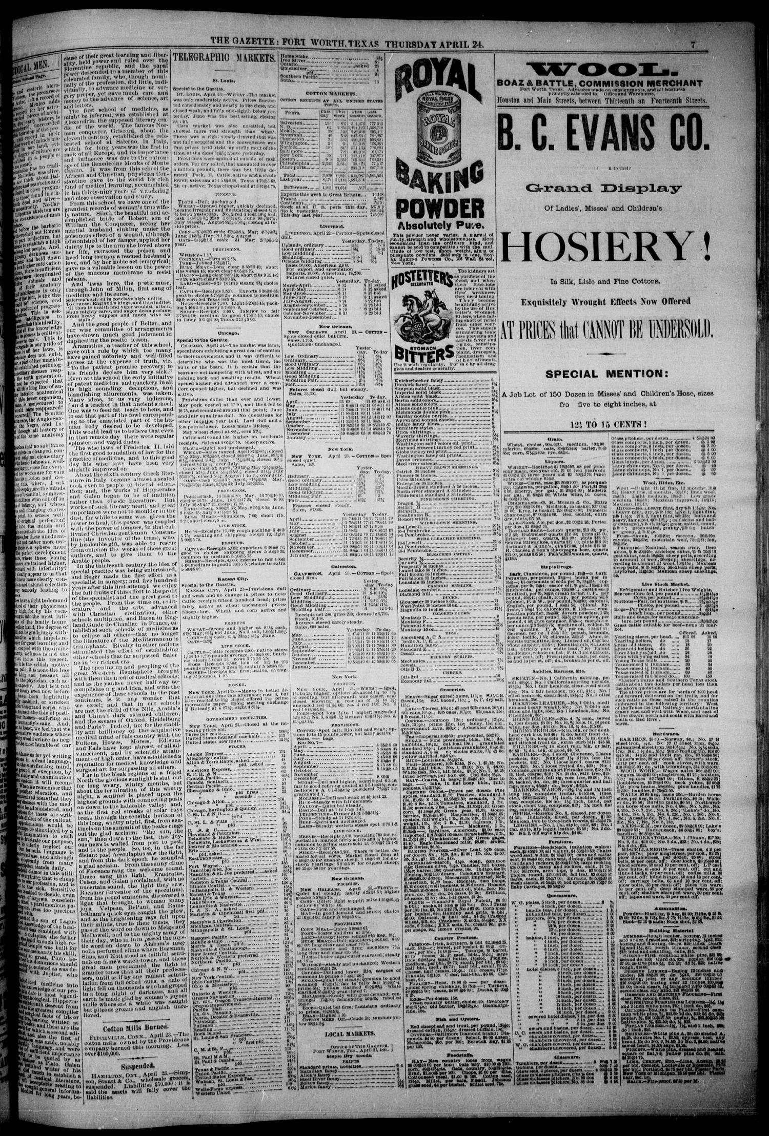 Fort Worth Daily Gazette Fort Worth Tex Vol 8 No 110 Ed 1