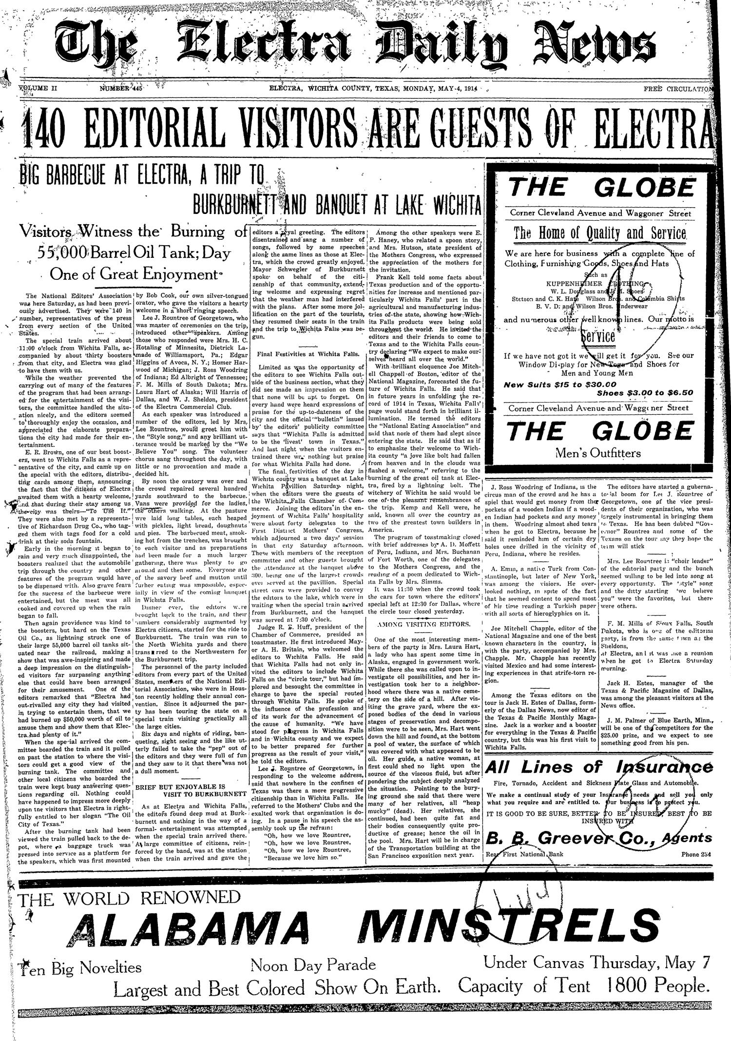 The Electra Daily News (Electra, Tex.), Vol. 2, No. 445, Ed. 1 Monday, May 4, 1914                                                                                                      [Sequence #]: 1 of 4