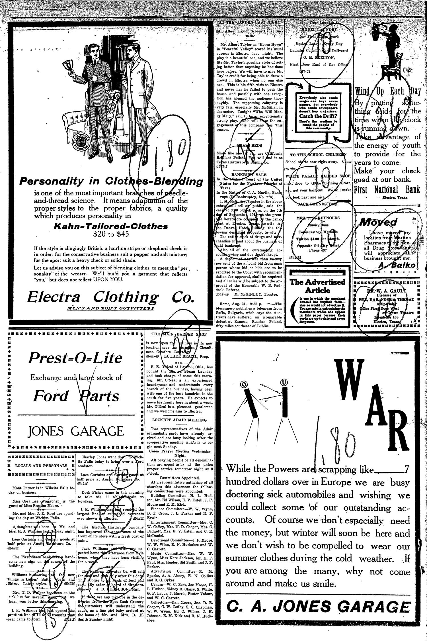 The Electra Daily News (Electra, Tex.), Vol. 2, No. 548, Ed. 1 Tuesday, September 1, 1914                                                                                                      [Sequence #]: 4 of 4