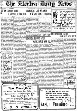 Primary view of object titled 'The Electra Daily News (Electra, Tex.), Vol. 2, No. 593, Ed. 1 Friday, October 23, 1914'.