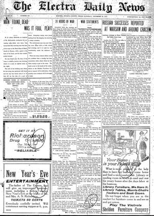 Primary view of object titled 'The Electra Daily News (Electra, Tex.), Vol. 3, No. 648, Ed. 1 Saturday, December 26, 1914'.