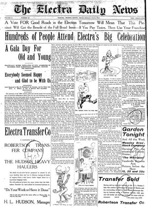 Primary view of object titled 'The Electra Daily News (Electra, Tex.), Vol. 2, No. 499, Ed. 1 Monday, July 6, 1914'.