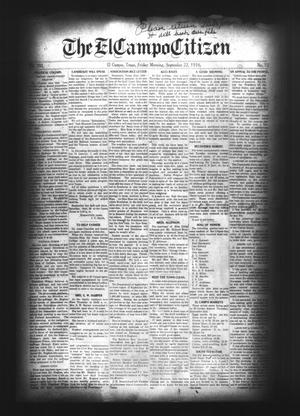 Primary view of object titled 'The El Campo Citizen (El Campo, Tex.), Vol. 16, No. 33, Ed. 1 Friday, September 22, 1916'.