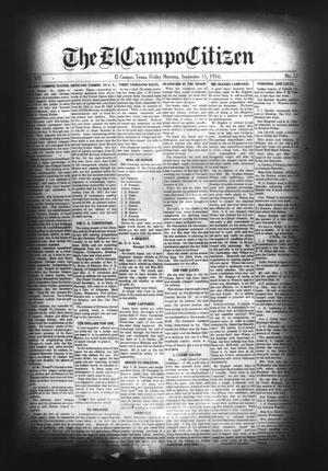 Primary view of object titled 'The El Campo Citizen (El Campo, Tex.), Vol. 16, No. 32, Ed. 1 Friday, September 15, 1916'.