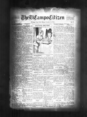 Primary view of object titled 'The El Campo Citizen (El Campo, Tex.), Vol. 20, No. 37, Ed. 1 Friday, November 12, 1920'.